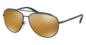 Prada Sport PS 55RS UFI5N2 POLAR DARK BROWN MIRROR GOLDGREEN RUBBER