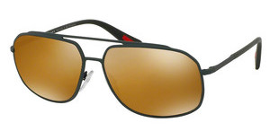 Prada Sport PS 56RS UFI5N2 DK BROWN MIRROR GOLD POLARGREEN RUBBER