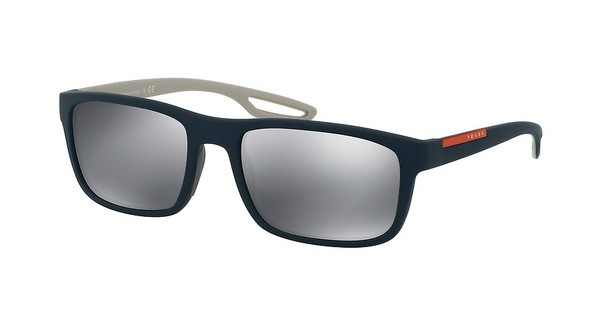 Prada Sport PS 03RS UR55L0 LIGHT GREY MIRROR BLACKBLUE RUBBER