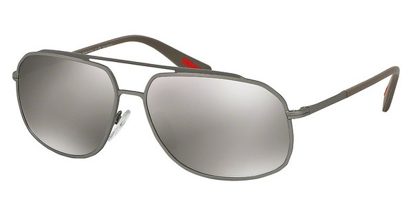 Prada Sport PS 56RS DG15K0 DK BROWN MIRROR SILVER POLARBROWN/LEAD RUBBER